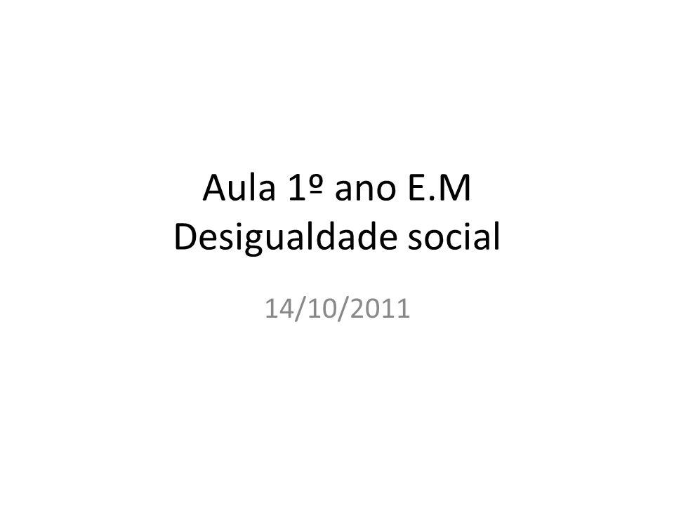 Aula 1º ano E.M Desigualdade social