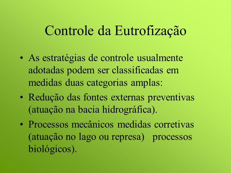 Controle da Eutrofização