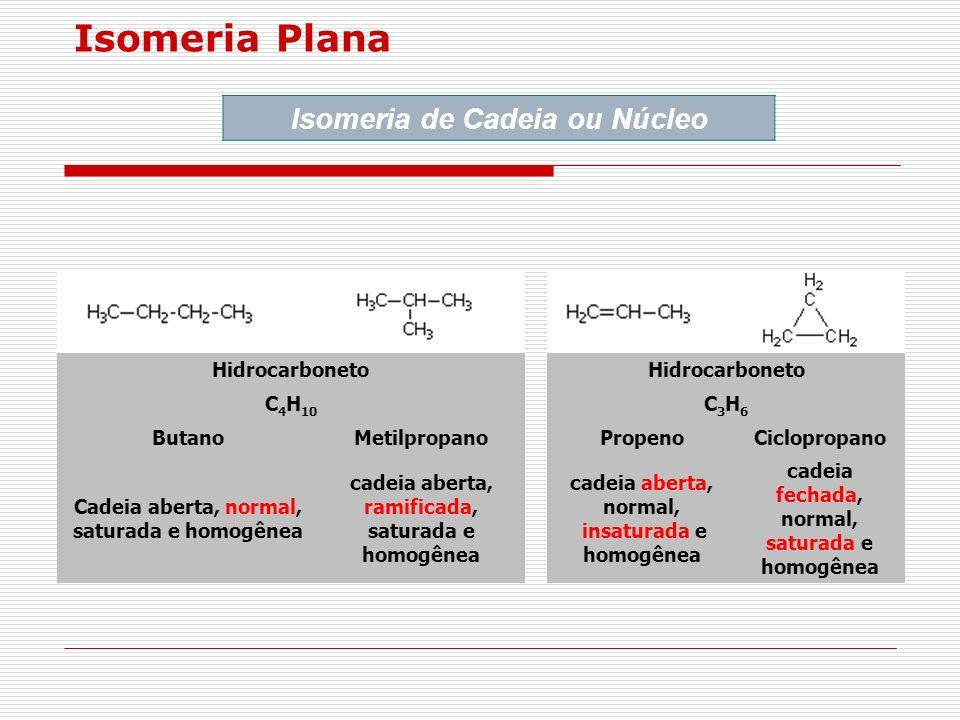 Isomeria Plana Isomeria de Cadeia ou Núcleo Hidrocarboneto C4H10 C3H6