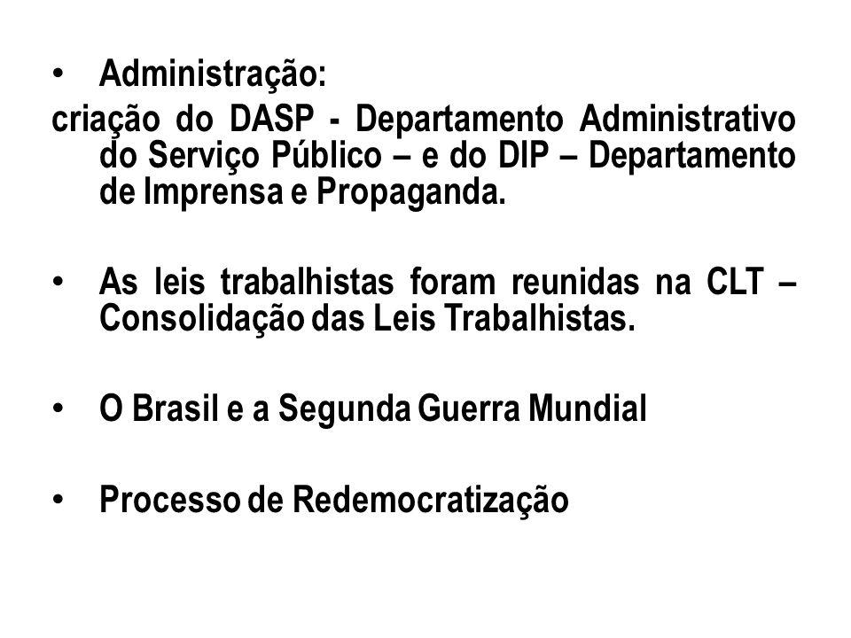 Administração:criação do DASP - Departamento Administrativo do Serviço Público – e do DIP – Departamento de Imprensa e Propaganda.