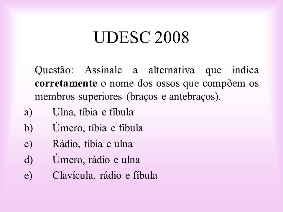UDESC 2008 Questão: Assinale a alternativa que indica corretamente o nome dos ossos que compõem os membros superiores (braços e antebraços).