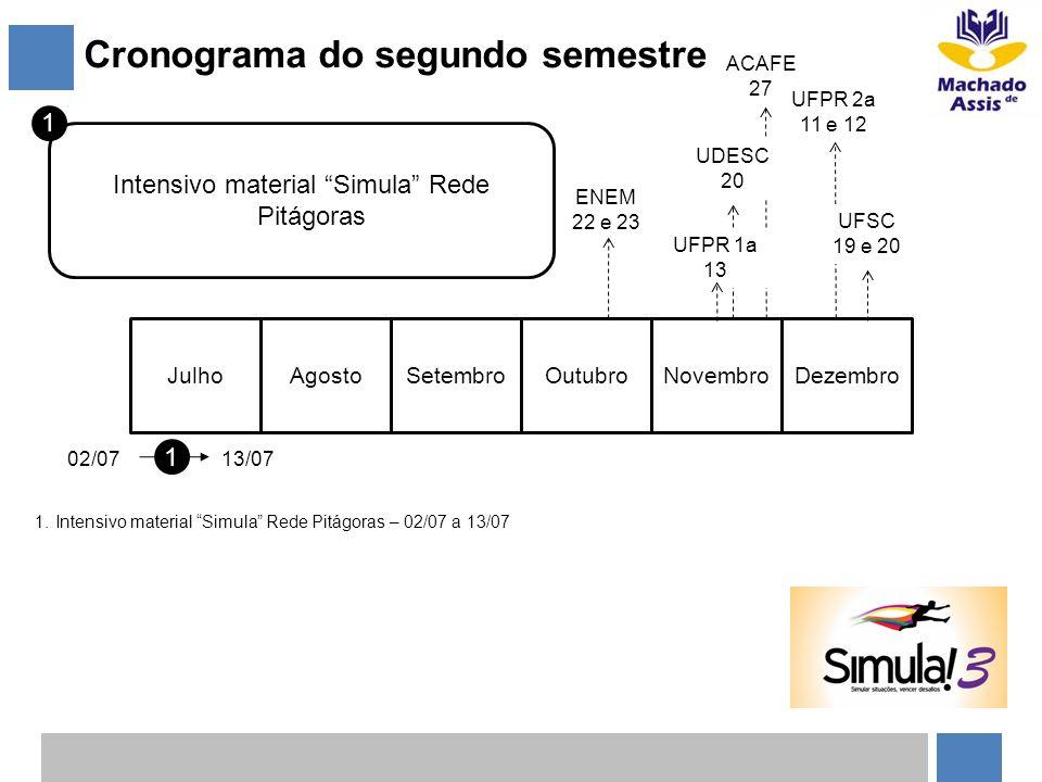 Cronograma do segundo semestre