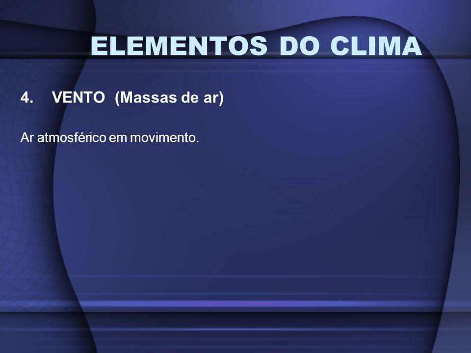ELEMENTOS DO CLIMA VENTO (Massas de ar) Ar atmosférico em movimento.