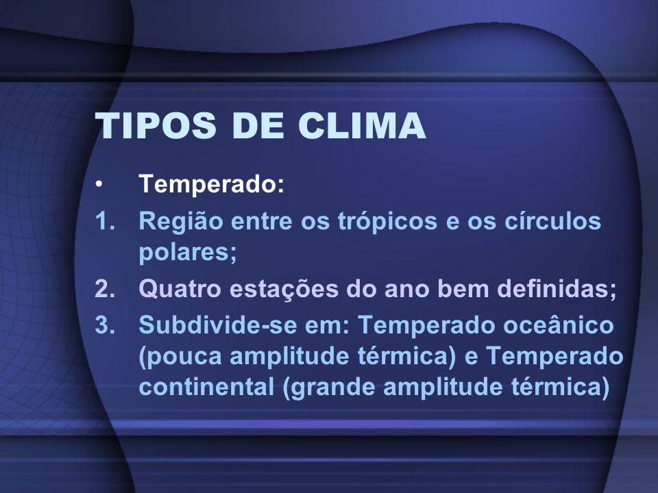 TIPOS DE CLIMA Temperado: