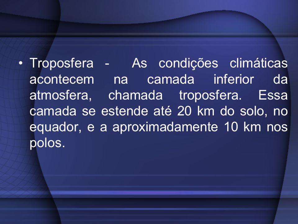 Troposfera - As condições climáticas acontecem na camada inferior da atmosfera, chamada troposfera.