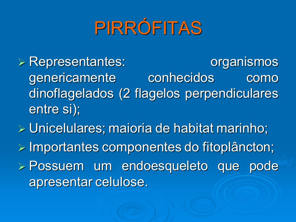 PIRRÓFITAS Representantes: organismos genericamente conhecidos como dinoflagelados (2 flagelos perpendiculares entre si);
