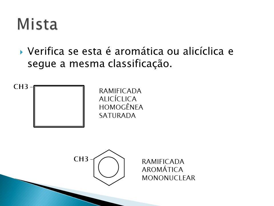 Mista Verifica se esta é aromática ou alicíclica e segue a mesma classificação. CH3 – RAMIFICADA.