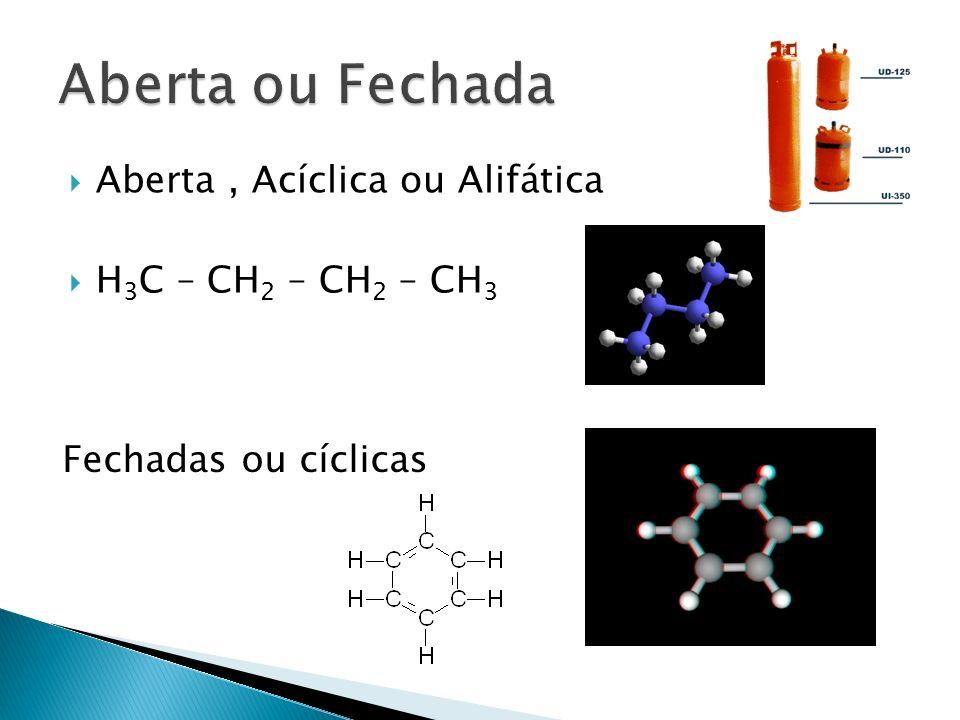 Aberta ou Fechada Aberta , Acíclica ou Alifática H3C – CH2 – CH2 – CH3