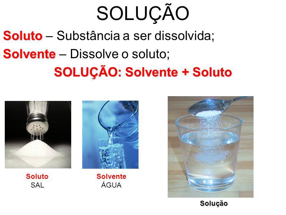 SOLUÇÃO: Solvente + Soluto