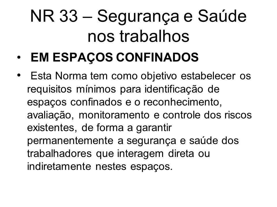 NR 33 – Segurança e Saúde nos trabalhos