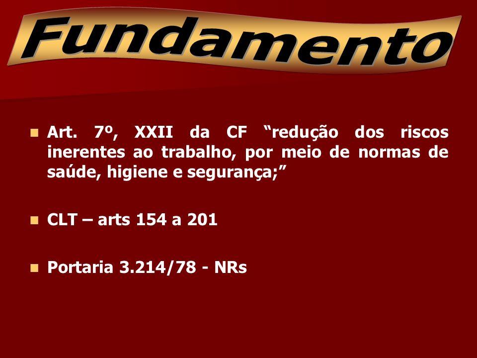 Fundamento Art. 7º, XXII da CF redução dos riscos inerentes ao trabalho, por meio de normas de saúde, higiene e segurança;