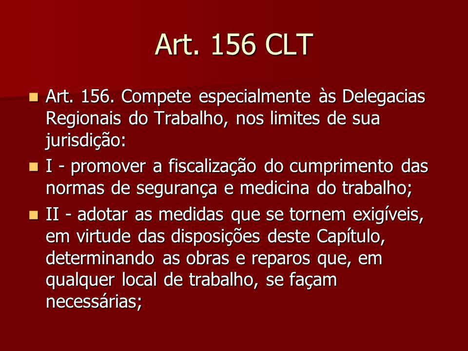 Art. 156 CLT Art. 156. Compete especialmente às Delegacias Regionais do Trabalho, nos limites de sua jurisdição: