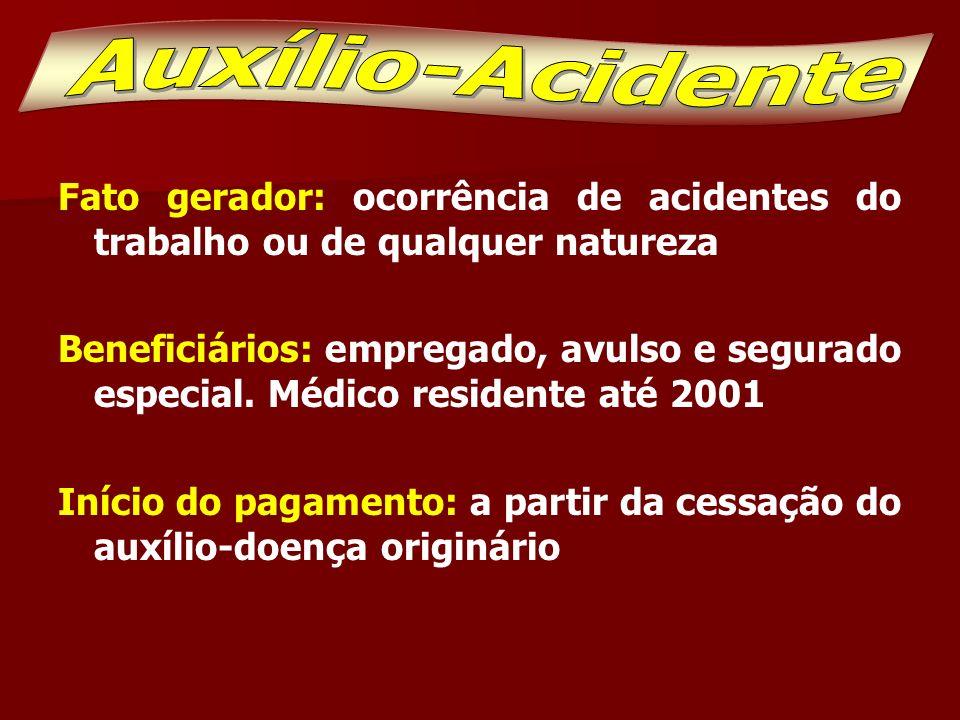 Auxílio-Acidente Fato gerador: ocorrência de acidentes do trabalho ou de qualquer natureza.