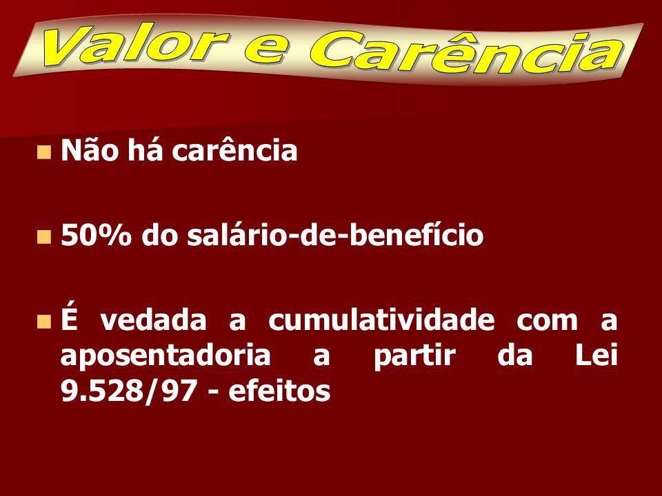 Valor e Carência Não há carência 50% do salário-de-benefício