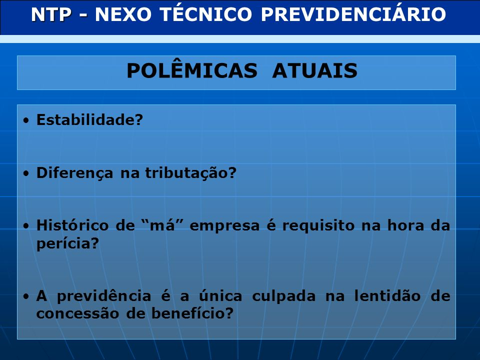 NTP - NEXO TÉCNICO PREVIDENCIÁRIO