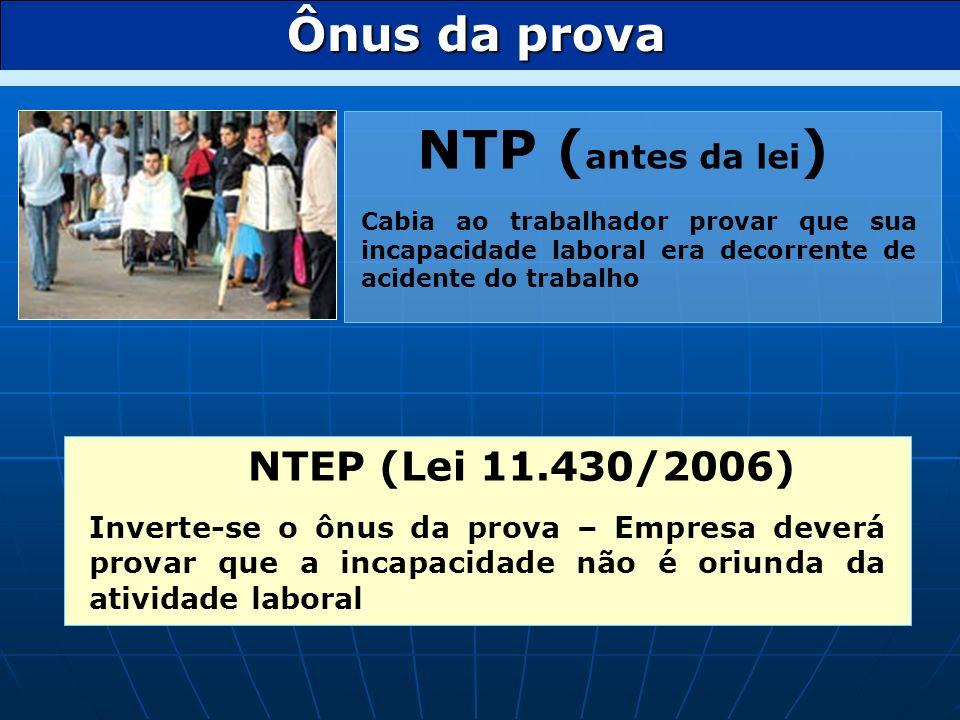 NTP (antes da lei) Ônus da prova NTEP (Lei 11.430/2006)