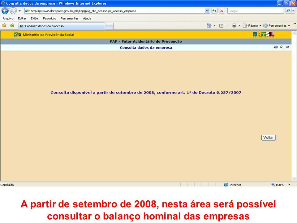 A partir de setembro de 2008, nesta área será possível consultar o balanço hominal das empresas
