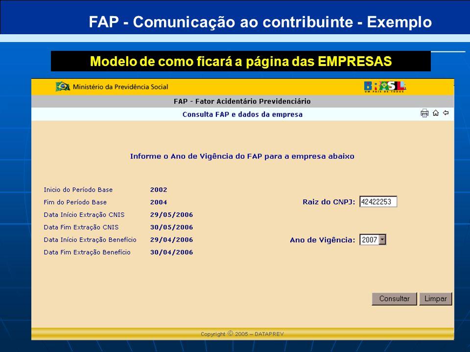 FAP - Comunicação ao contribuinte - Exemplo