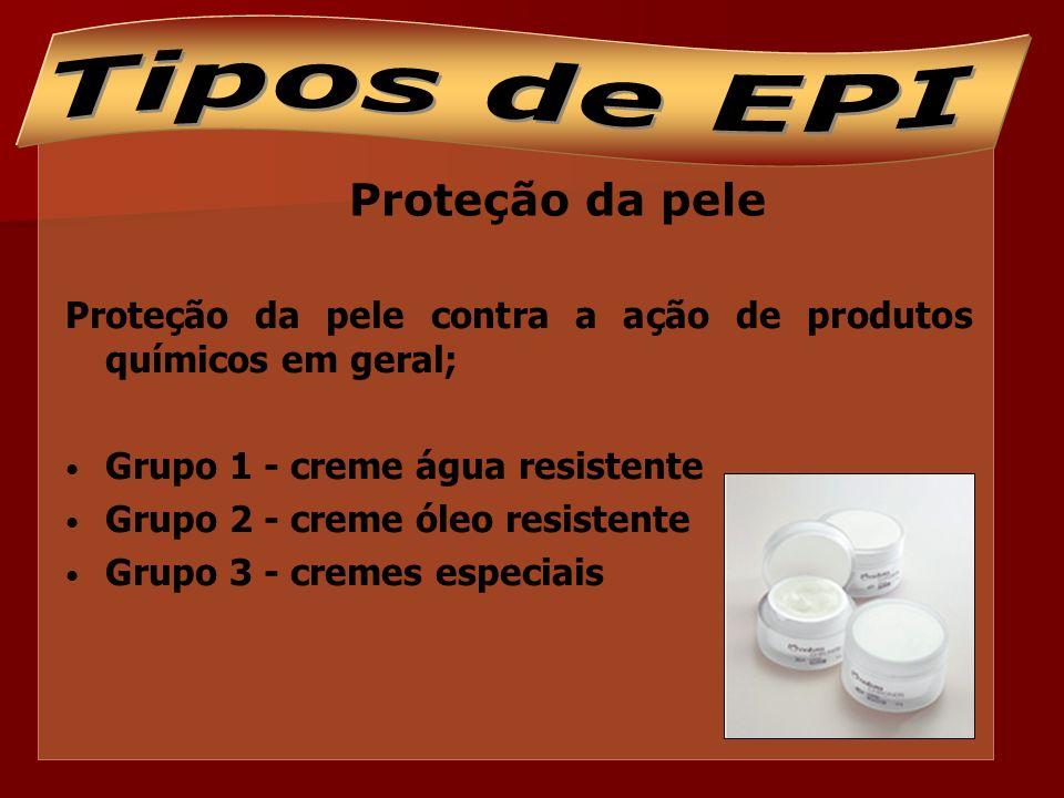 Tipos de EPI Proteção da pele