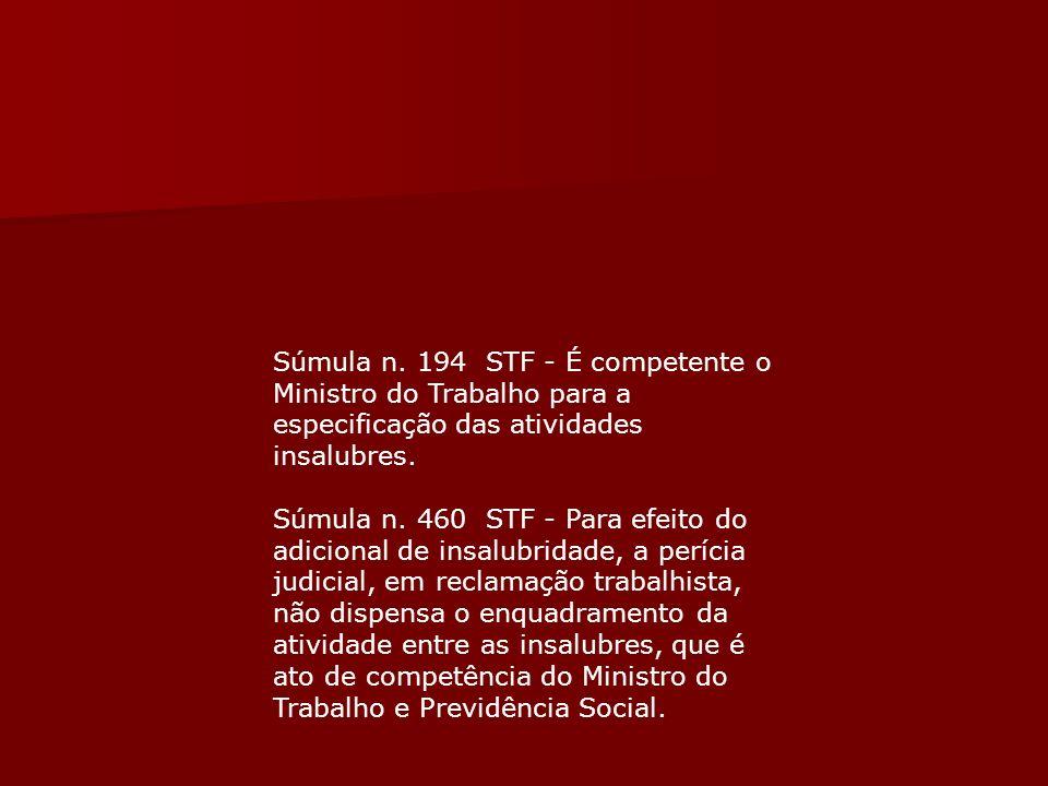 Súmula n. 194 STF - É competente o Ministro do Trabalho para a especificação das atividades insalubres.