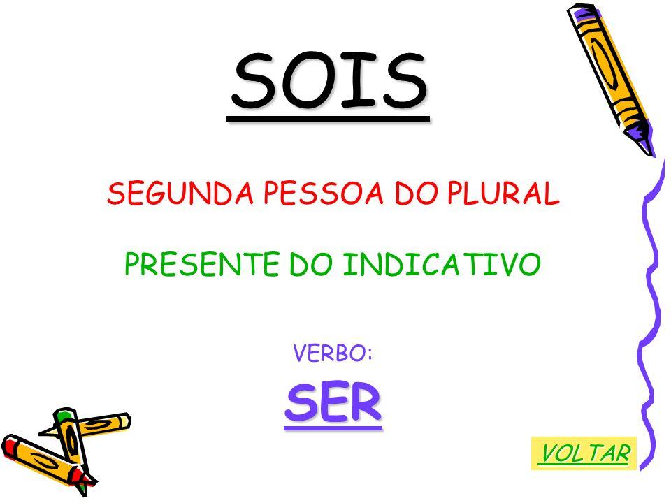 SOIS SEGUNDA PESSOA DO PLURAL PRESENTE DO INDICATIVO VERBO: SER VOLTAR