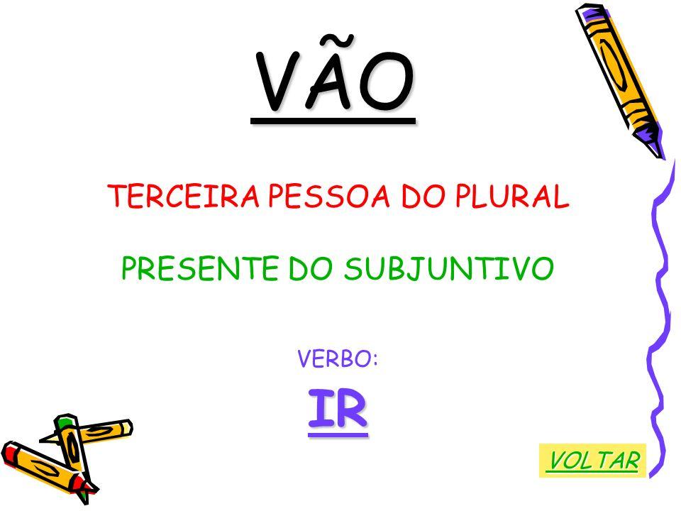 VÃO TERCEIRA PESSOA DO PLURAL PRESENTE DO SUBJUNTIVO VERBO: IR VOLTAR