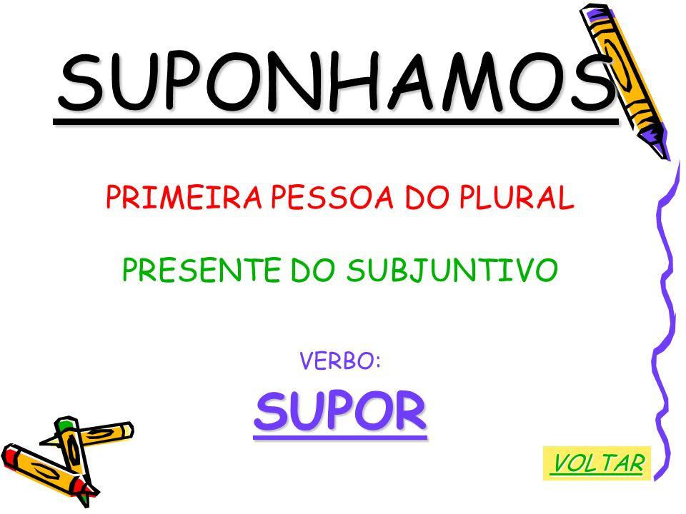 SUPONHAMOS SUPOR PRIMEIRA PESSOA DO PLURAL PRESENTE DO SUBJUNTIVO
