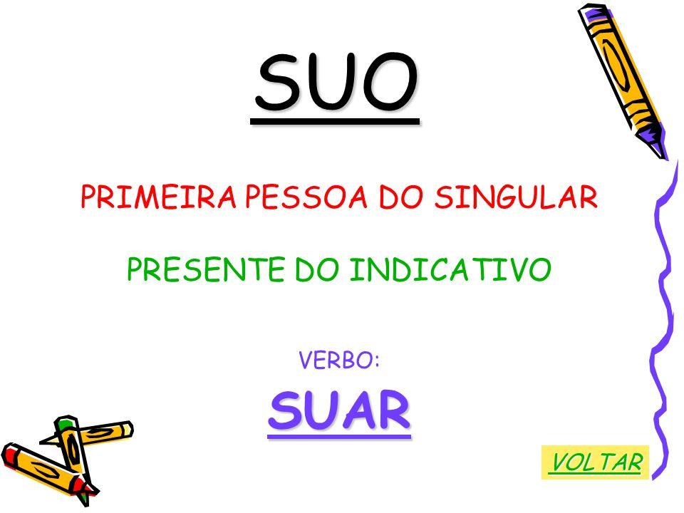 SUO SUAR PRIMEIRA PESSOA DO SINGULAR PRESENTE DO INDICATIVO VERBO: