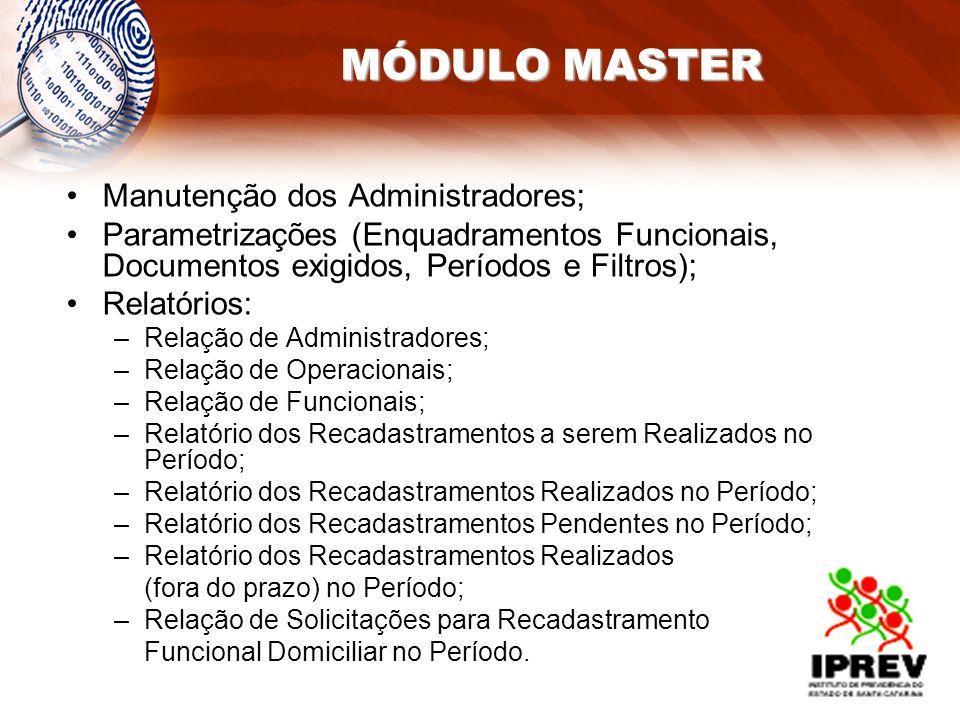 MÓDULO MASTER Manutenção dos Administradores;