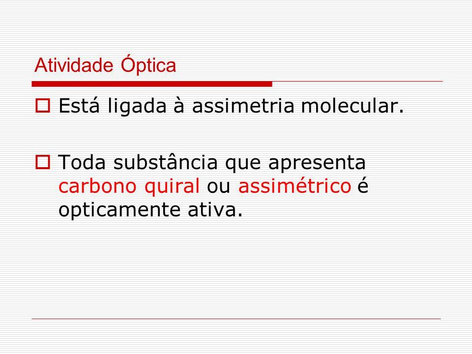 Atividade Óptica Está ligada à assimetria molecular.