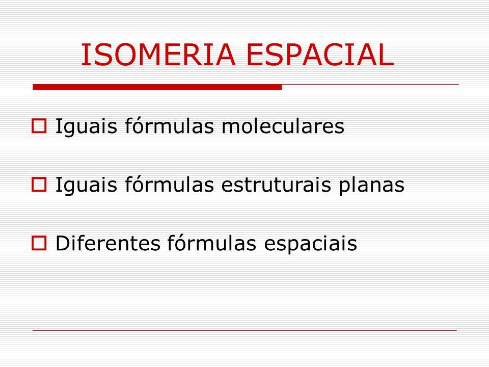 ISOMERIA ESPACIAL Iguais fórmulas moleculares