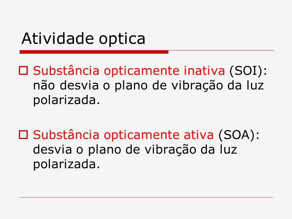 Atividade opticaSubstância opticamente inativa (SOI): não desvia o plano de vibração da luz polarizada.
