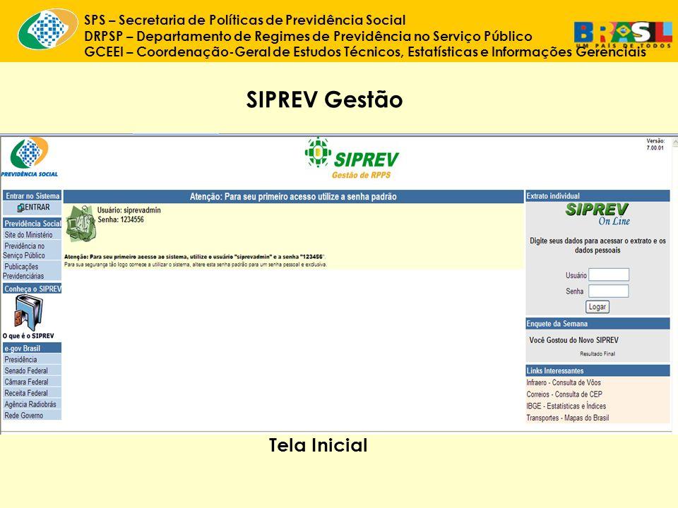 SIPREV Gestão Tela Inicial