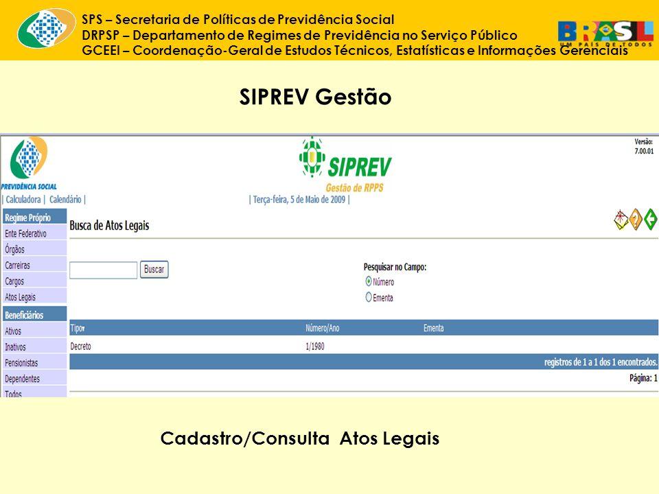 SIPREV Gestão Cadastro/Consulta Atos Legais