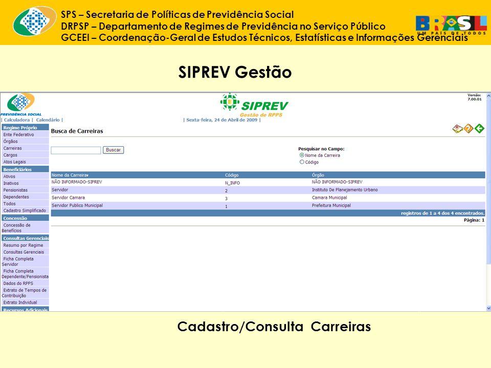 SIPREV Gestão Cadastro/Consulta Carreiras