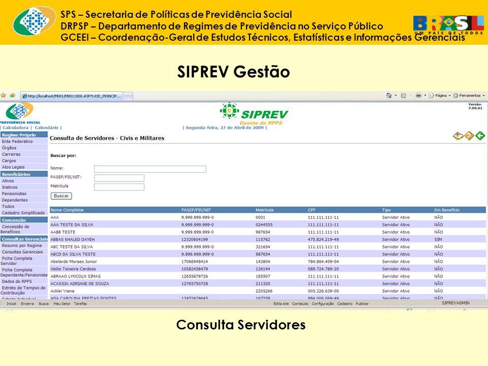 SIPREV Gestão Consulta Servidores