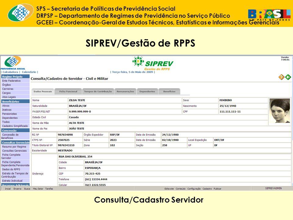SIPREV/Gestão de RPPS Consulta/Cadastro Servidor