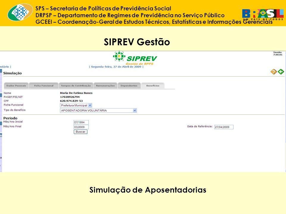 SIPREV Gestão Simulação de Aposentadorias