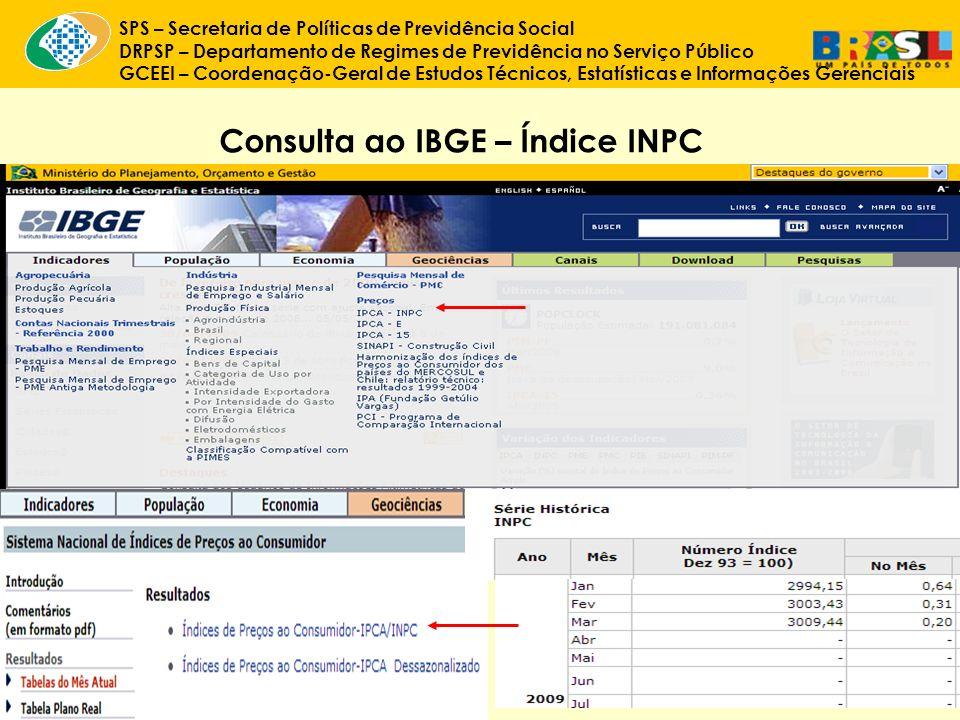 Consulta ao IBGE – Índice INPC