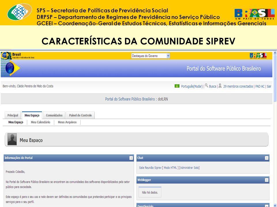 CARACTERÍSTICAS DA COMUNIDADE SIPREV
