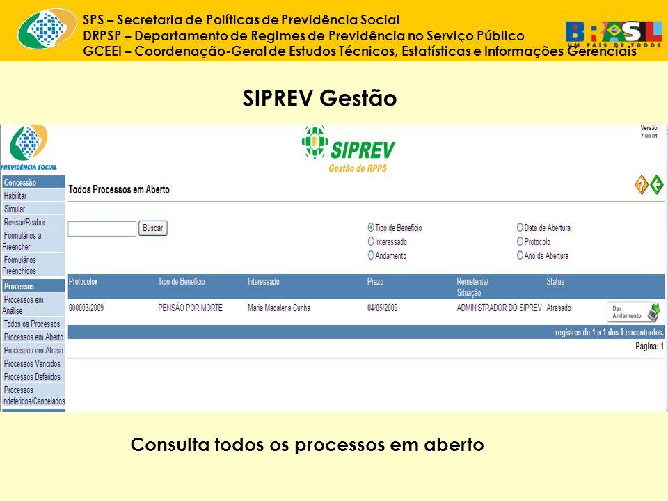 SIPREV Gestão Consulta todos os processos em aberto