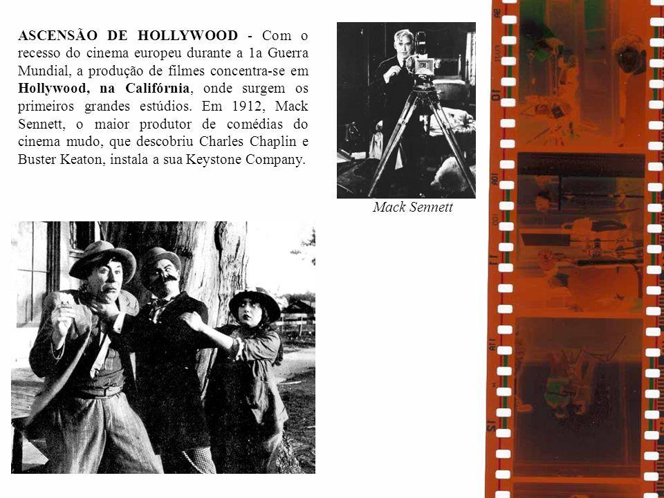 ASCENSÃO DE HOLLYWOOD - Com o recesso do cinema europeu durante a 1a Guerra Mundial, a produção de filmes concentra-se em Hollywood, na Califórnia, onde surgem os primeiros grandes estúdios. Em 1912, Mack Sennett, o maior produtor de comédias do cinema mudo, que descobriu Charles Chaplin e Buster Keaton, instala a sua Keystone Company.