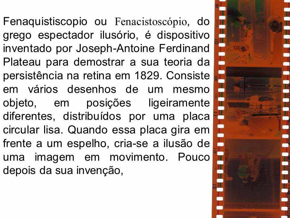 Fenaquistiscopio ou Fenacistoscópio, do grego espectador ilusório, é dispositivo inventado por Joseph-Antoine Ferdinand Plateau para demostrar a sua teoria da persistência na retina em 1829.