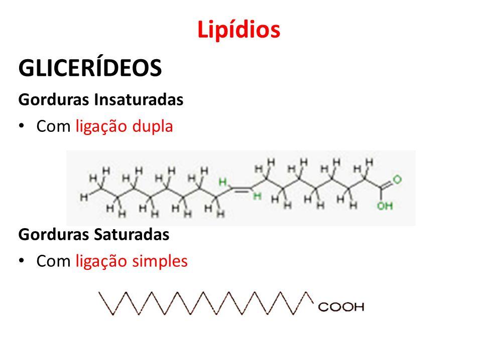 Lipídios GLICERÍDEOS Gorduras Insaturadas Com ligação dupla