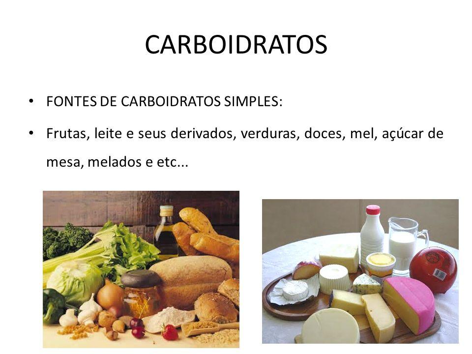 CARBOIDRATOS FONTES DE CARBOIDRATOS SIMPLES:
