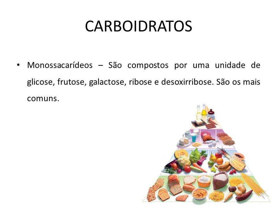 CARBOIDRATOS Monossacarídeos – São compostos por uma unidade de glicose, frutose, galactose, ribose e desoxirribose.
