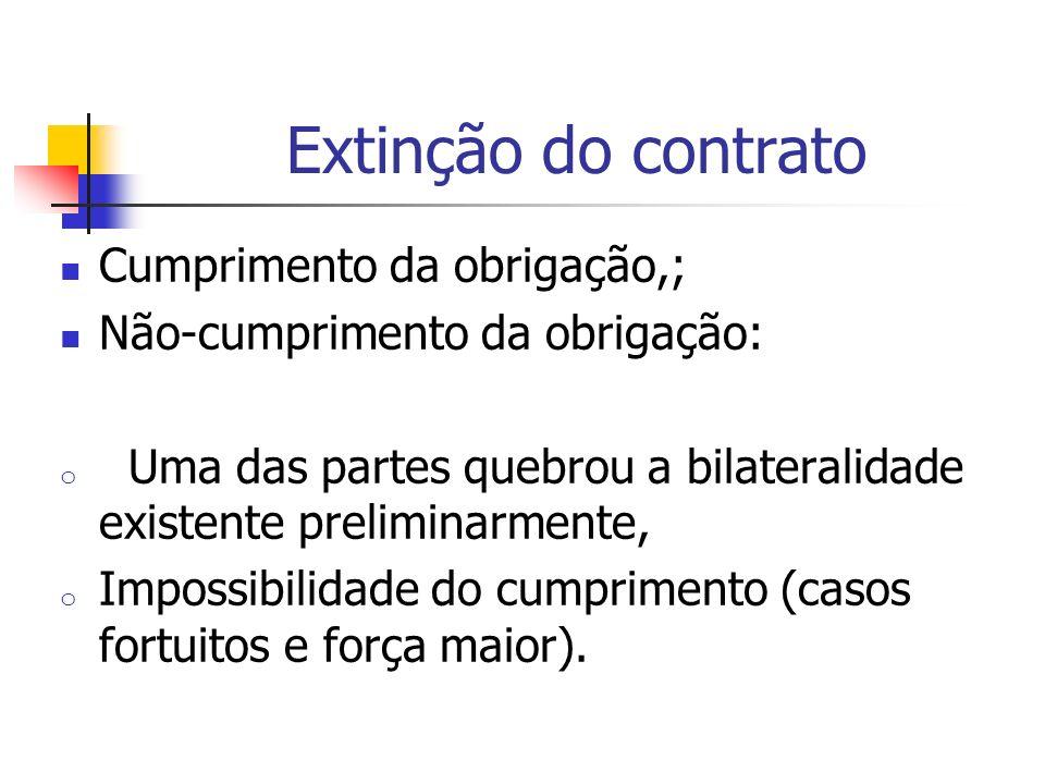Extinção do contrato Cumprimento da obrigação,;