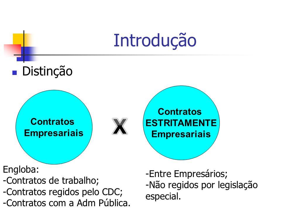 X Introdução Distinção Contratos ESTRITAMENTE Contratos Empresariais