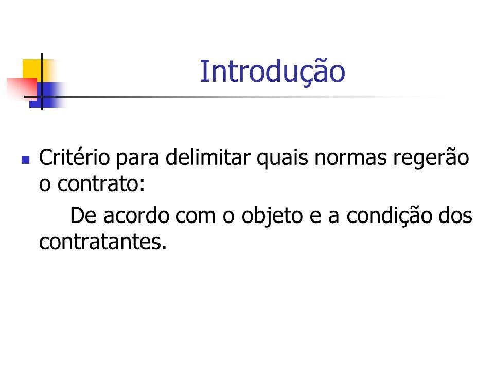 Introdução Critério para delimitar quais normas regerão o contrato:
