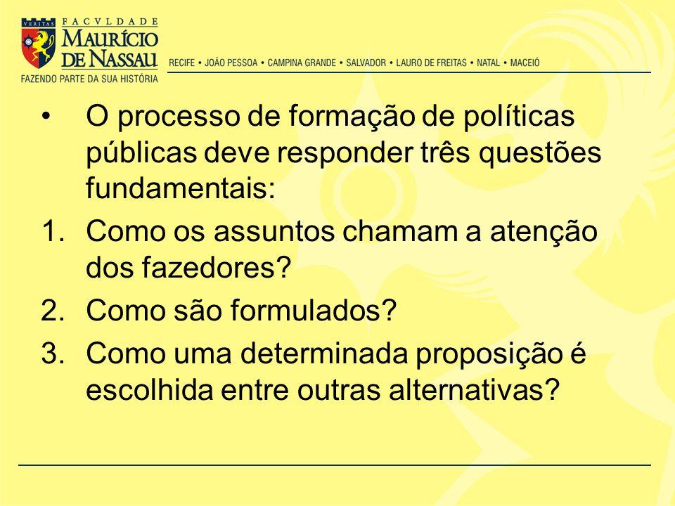 O processo de formação de políticas públicas deve responder três questões fundamentais: